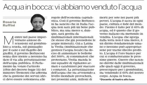 Articolo di Rosaria Ruffini